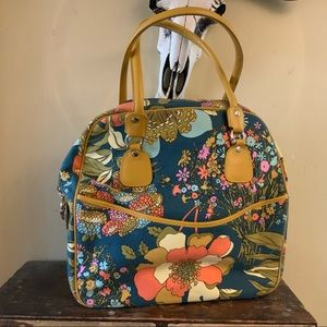 Anthropologie carry on floral print travel tote